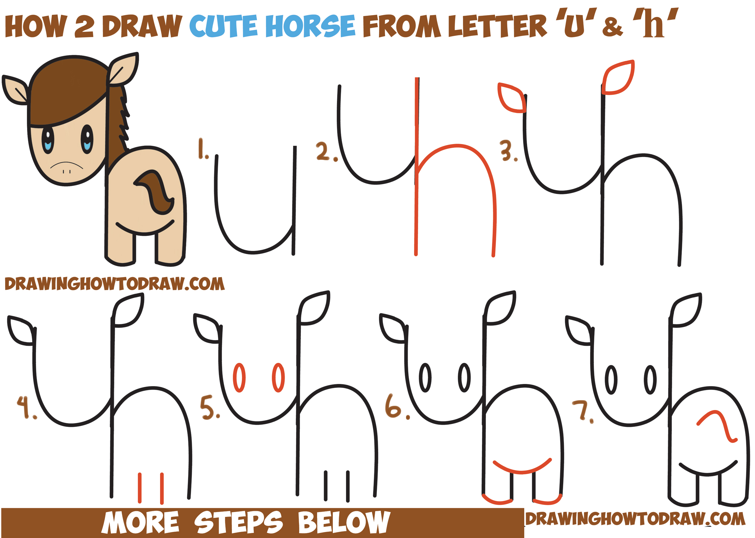 2500x1782 How To Draw A Cute Kawaii Chibi Horse From Letters And Simple
