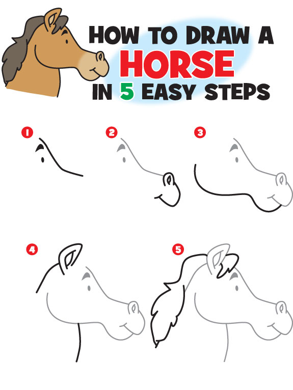 575x766 Kid Scoop How To Draw A Horse Drawing Tutorials For Children