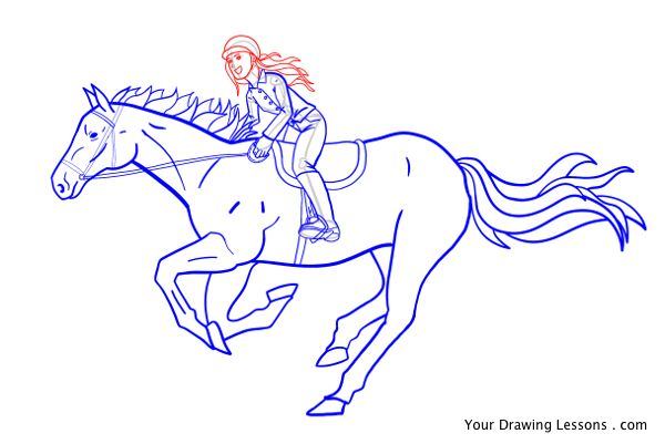 600x401 How To Draw A Girl Riding A Horse Your Drawing Lessons