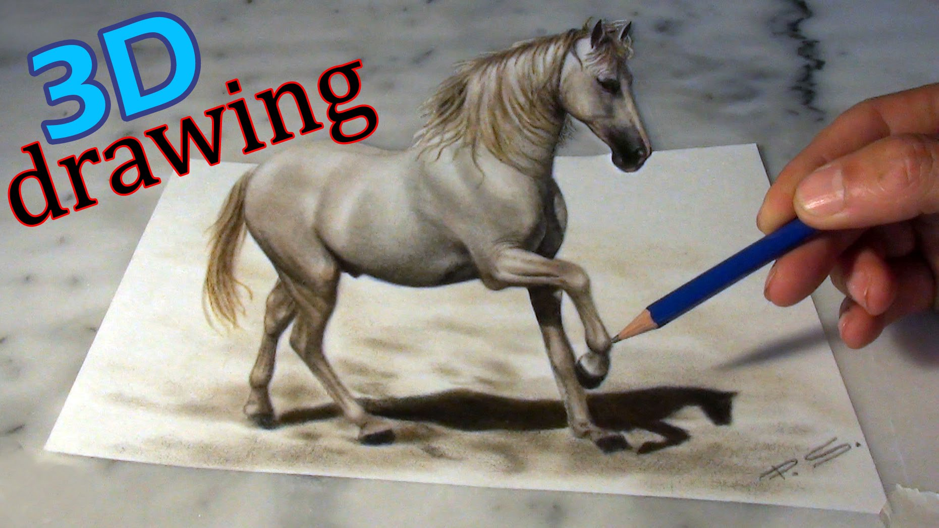1861x1047 Speed Drawing Of A Horse In 3d ! Anamorphic Illusion