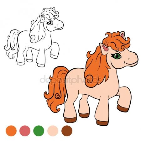 450x450 Coloring Page With Cute Pony, Horse. Educational Game, Drawing