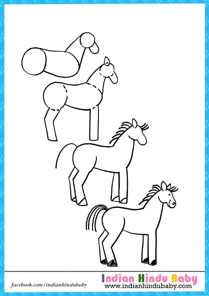 724x1024 Horse Drawing For Kids Create This Step By Step Horse Drawing