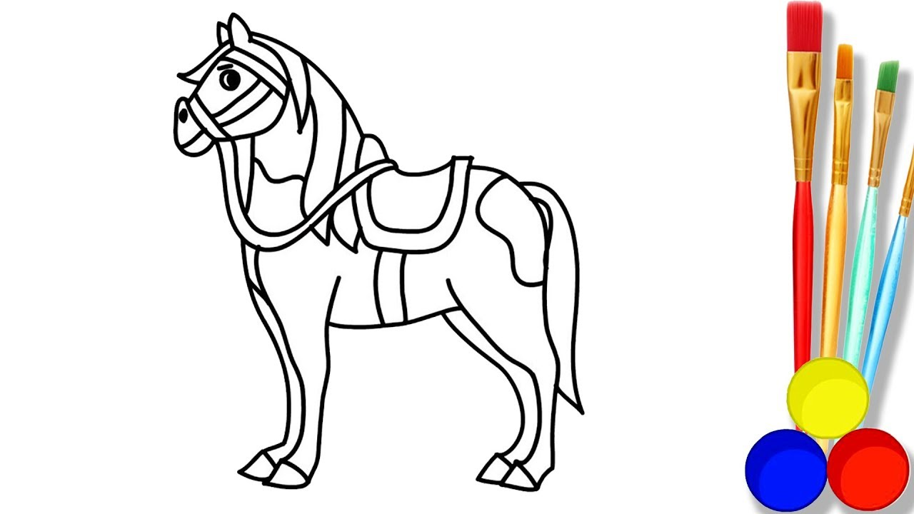 1280x720 Horse Drawing And Coloring Pages For Children How To Draw Cute