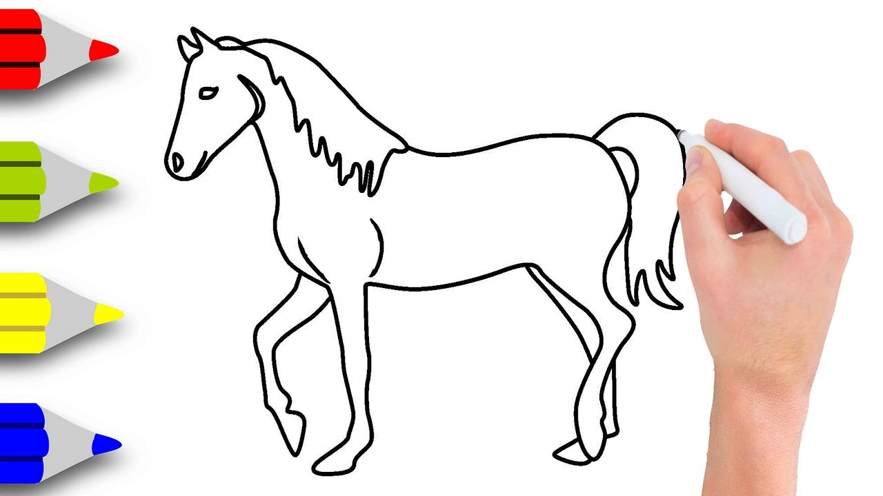 1280x720 Kids Drawing Videos How To Draw Horse Drawing Step By Step