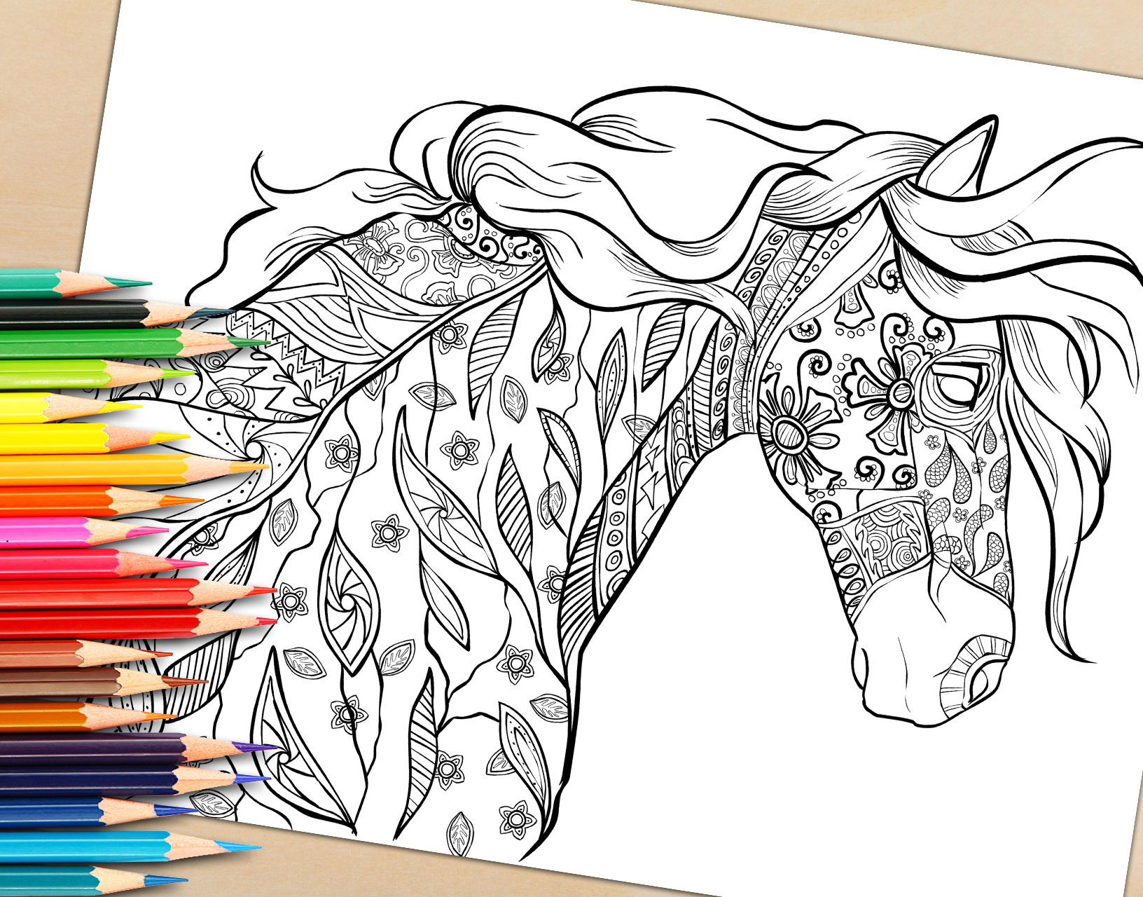 1632x1280 Adult Coloring Book Page Decorative Horse For