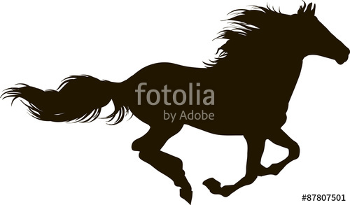 500x293 Drawing The Silhouette Of Running Horse Stock Image And Royalty