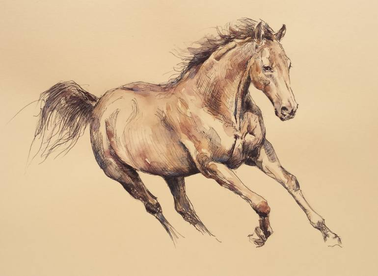 770x563 Saatchi Art Running Horse Drawing By Georgi Todorov