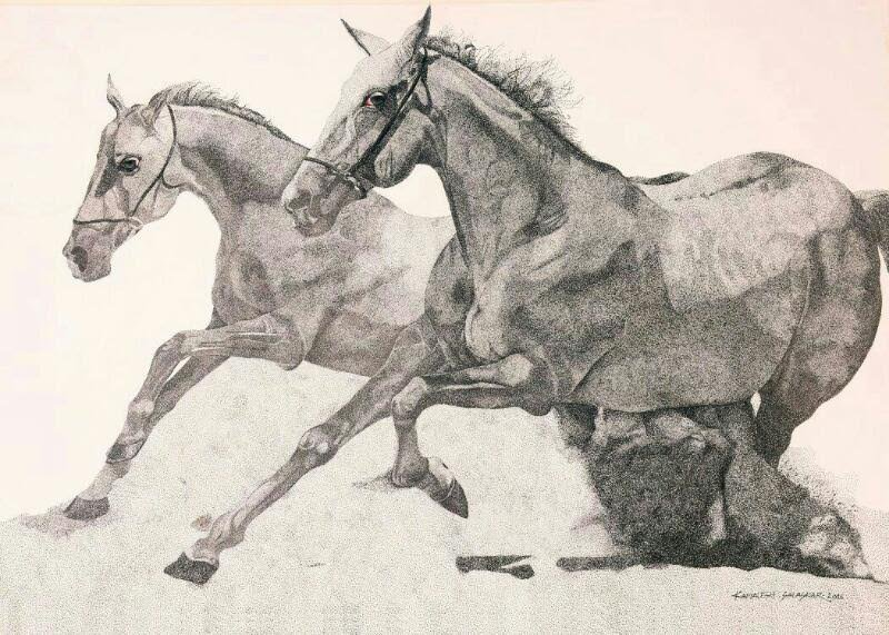 800x571 Two Running Horses By Artist Kamalesh Salaskar Ink Drawings On Paper