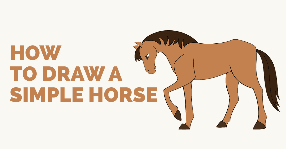 1200x628 How To Draw A Simple Horse Easy Drawing Guides