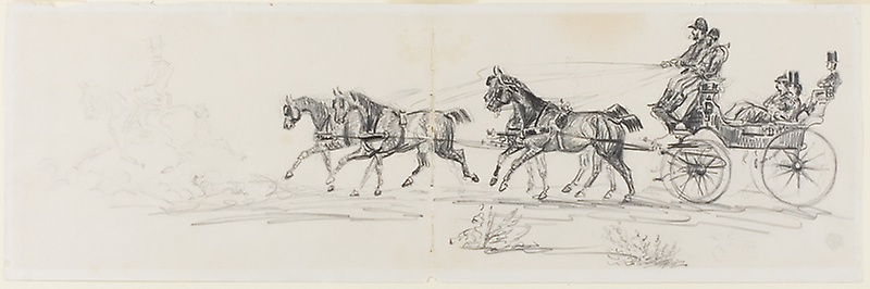 800x266 Horse Drawn Carriage Preceded By Single Rider (Recto) Man Riding