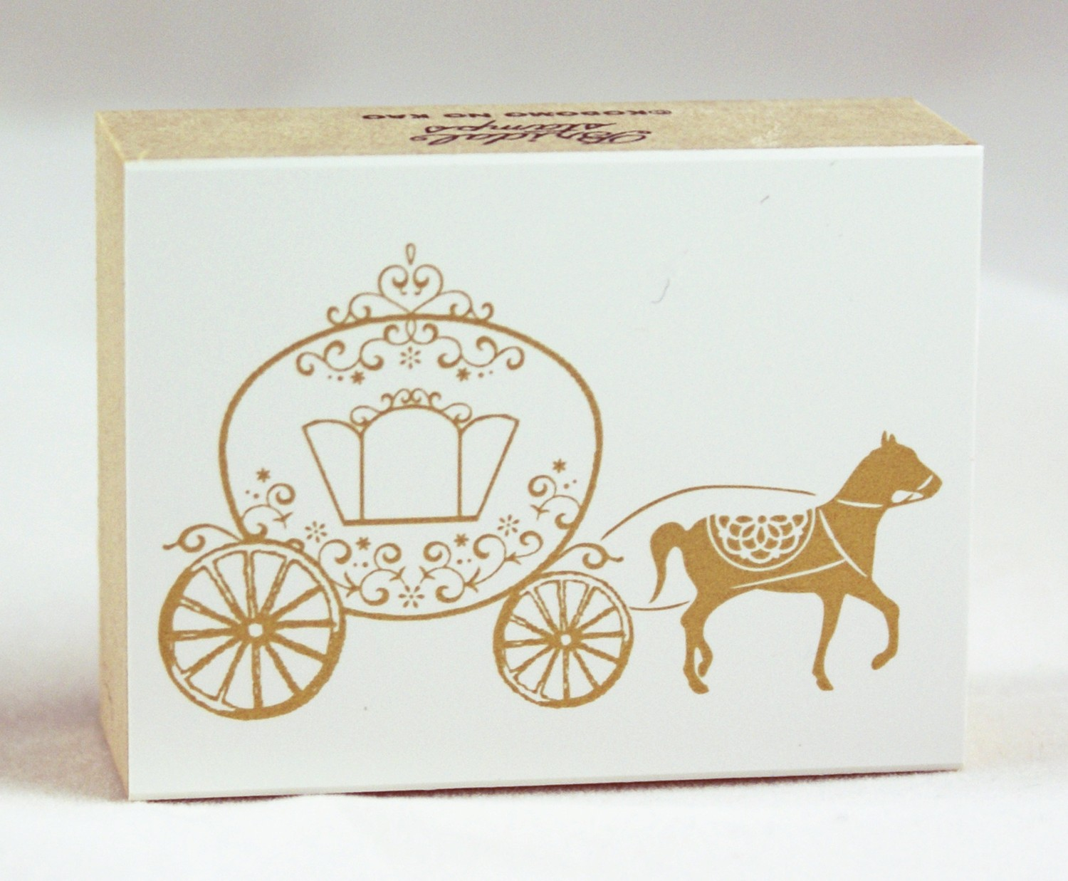 1500x1237 Horse Drawn Cinderella Carriage Japanese Wood Block Rubber Stamp