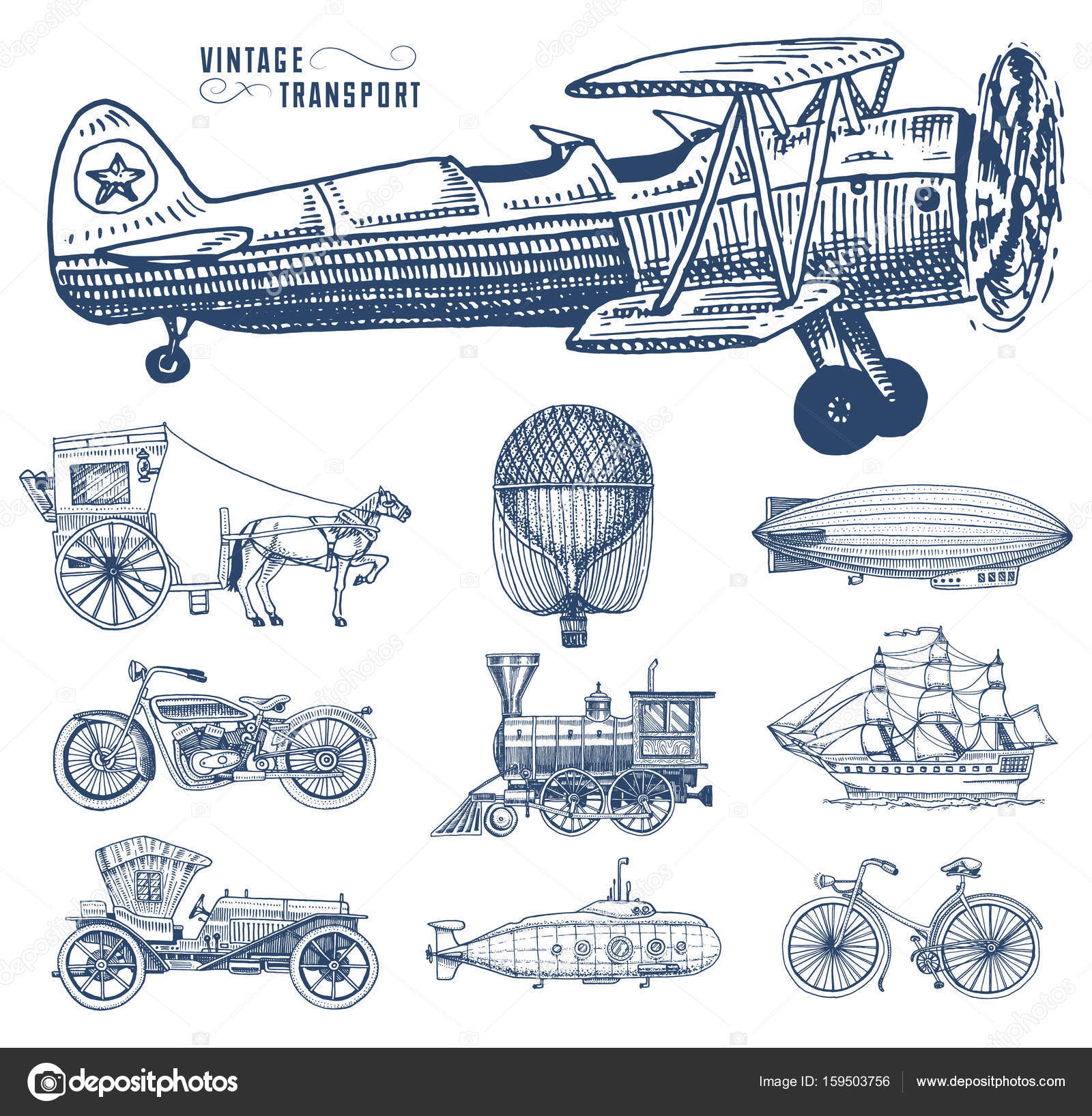 1600x1636 Submarine, Boat And Car, Motorbike, Horse Drawn Carriage. Airship