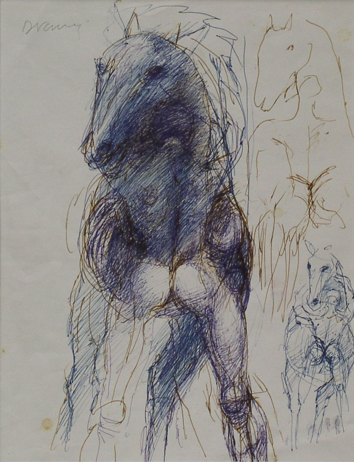 700x913 Horse Figure Drawing Denis Curry Pembrokeshire Artist