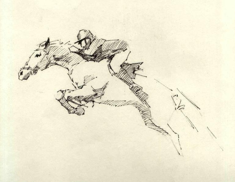 770x596 Saatchi Art Horse Rider Drawing By Vera Bondare