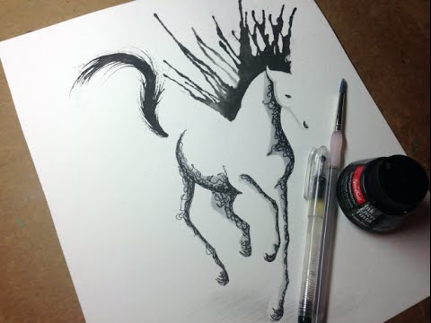 480x360 Minimal Abstract Galloping Horse Drawing Time Lapse