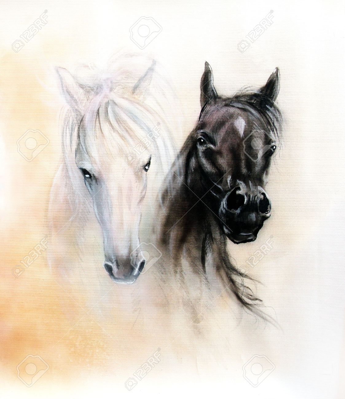 1123x1300 Horse Heads, Two Black And White Horse Spirits, Beautiful Detailed