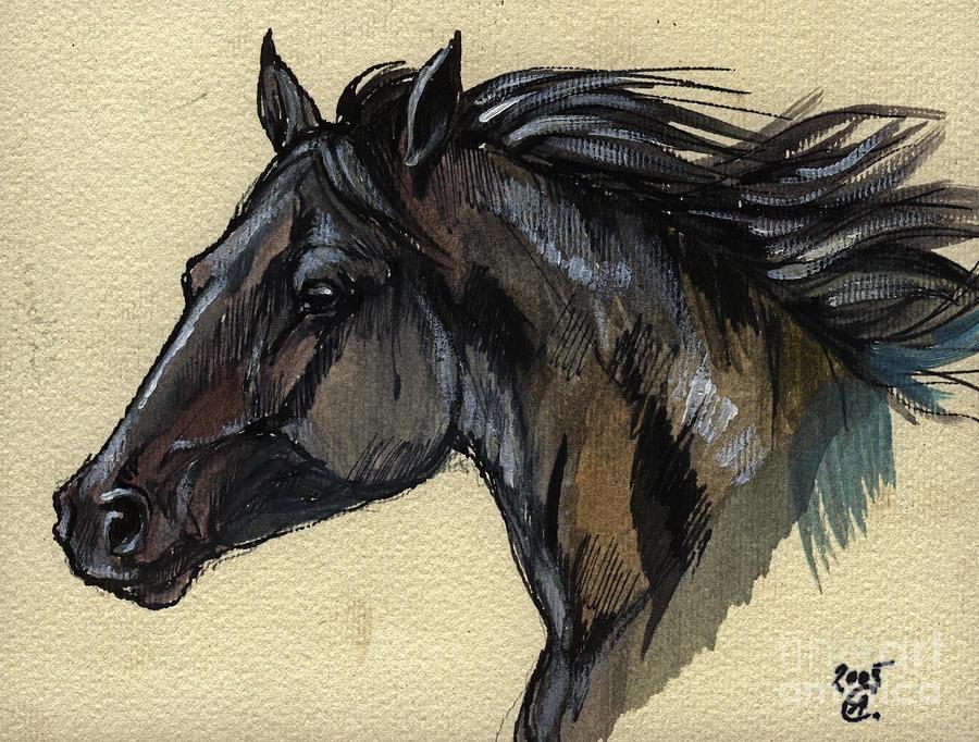 900x682 The Black Horse Painting By Angel Ciesniarska