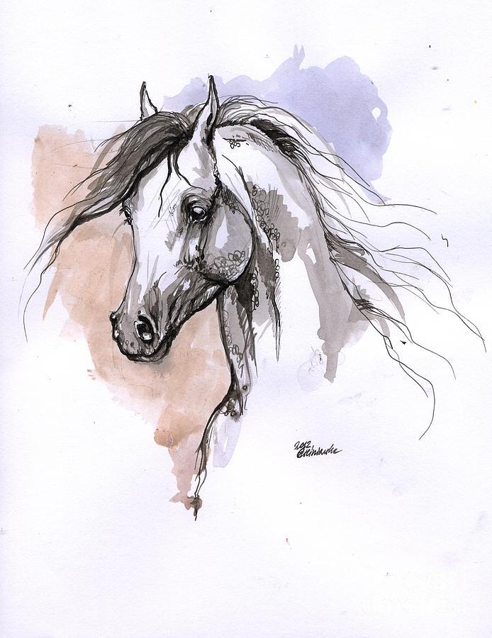 694x900 Arabian Horse Ink Drawing 1 Drawing By Angel Ciesniarska