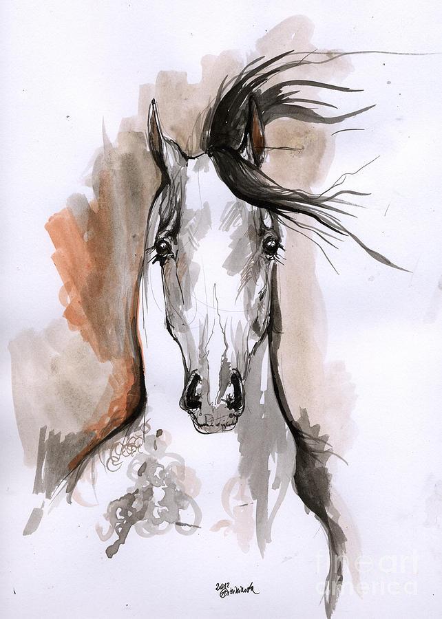 642x900 Arabian Horse Ink Drawing 2 Drawing By Angel Ciesniarska