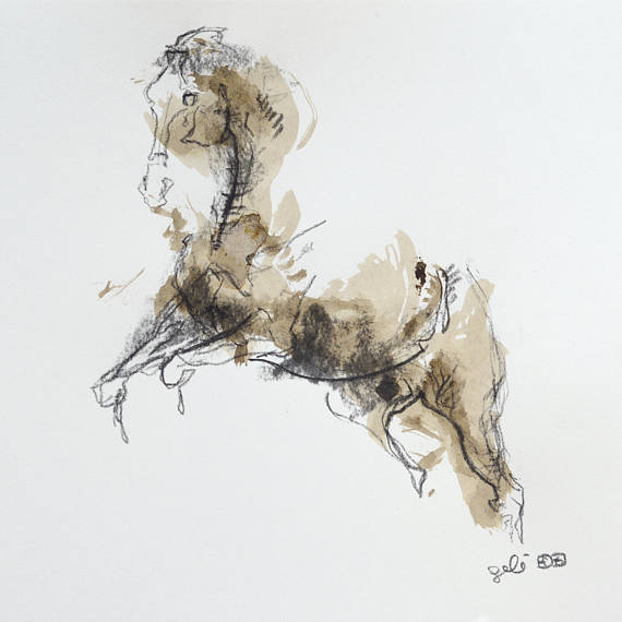 570x570 Charcoal Amp Ink Drawing Of Horse On Paper Equine Art Animal