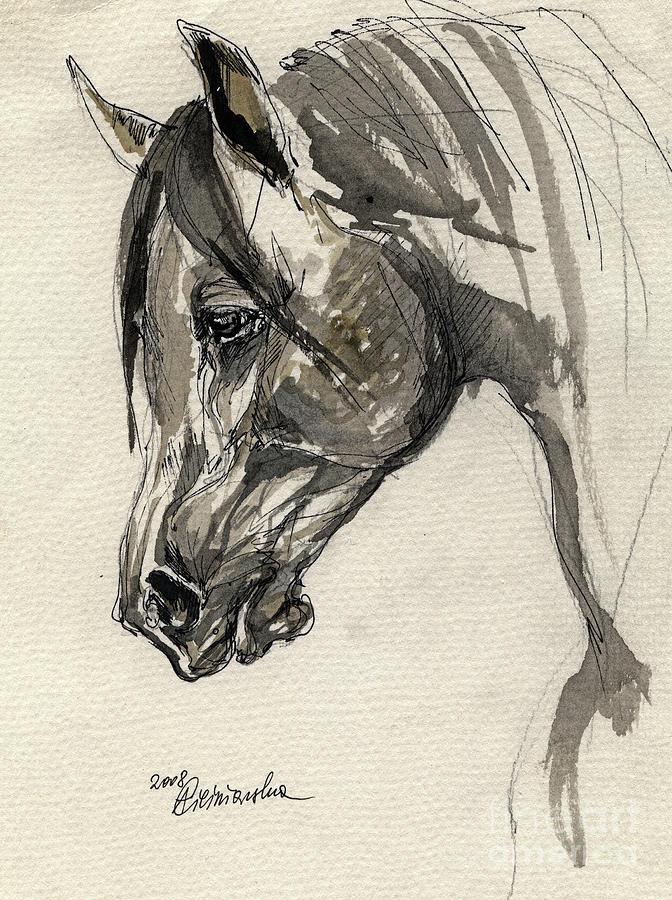 672x900 Grafik Polish Arabian Horse Ink Drawing Drawing By Angel Ciesniarska