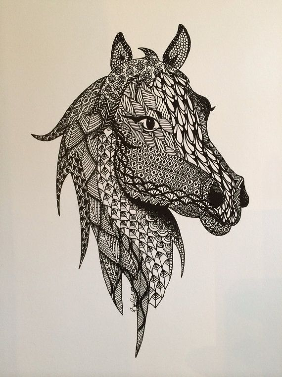 570x760 Horse Ink Drawing Zentangle Print By Theeclecticelephant On Etsy