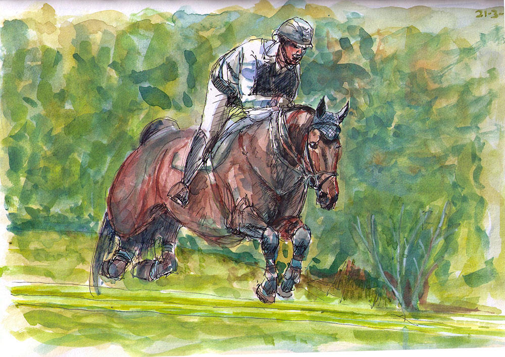 1000x708 406 Horse And Rider Jumping. Drawing In Watercolor And Ballpoint