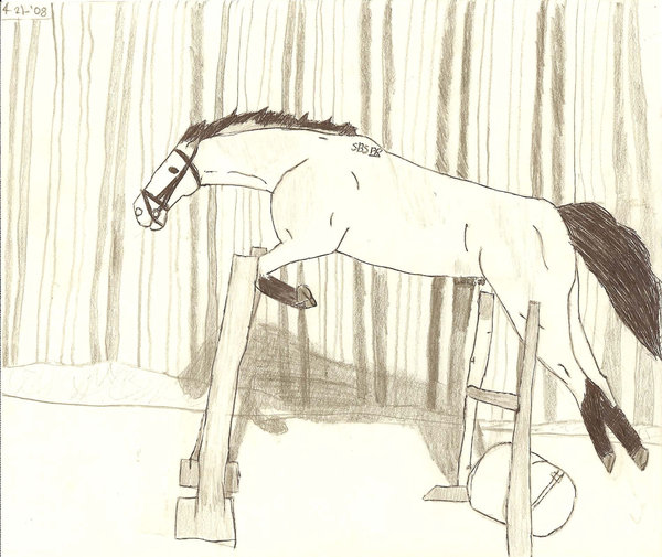 600x505 Horse Jumping Drawing By Alex Tahoe8