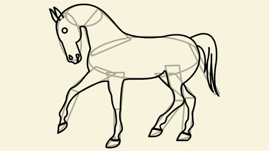 550x309 How To Draw A Simple Horse 11 Steps (With Pictures)