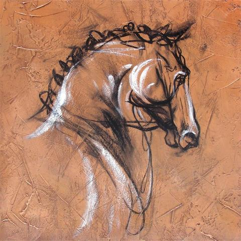 480x480 Horse Profile 2 Western Gallery Wrapped Oil Painting With
