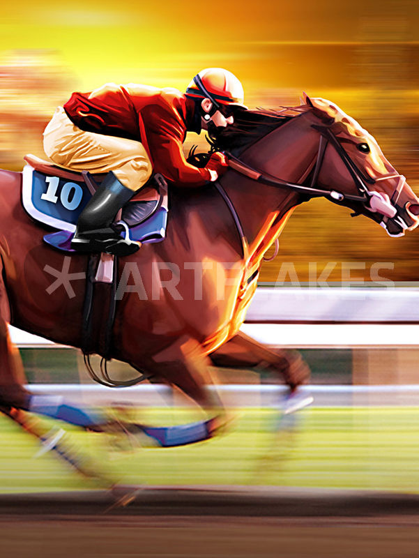 601x800 Horse Racing Drawing Art Prints And Posters By Cloudrious