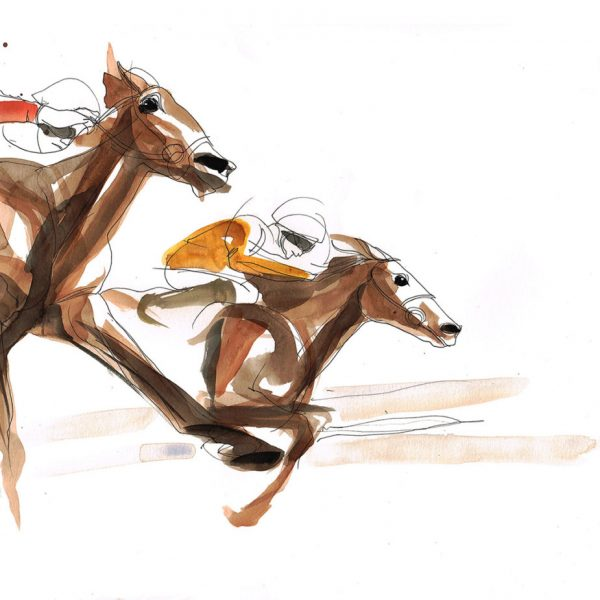 600x600 Horse Racing Drawing Original Pen And Watercolor Catarina Garcia