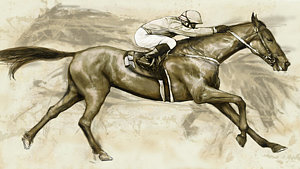 300x169 Horse Racing Drawings Fine Art America