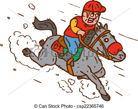 450x355 Jockey Horse Racing Cartoon. Illustration Of Horse And Eps