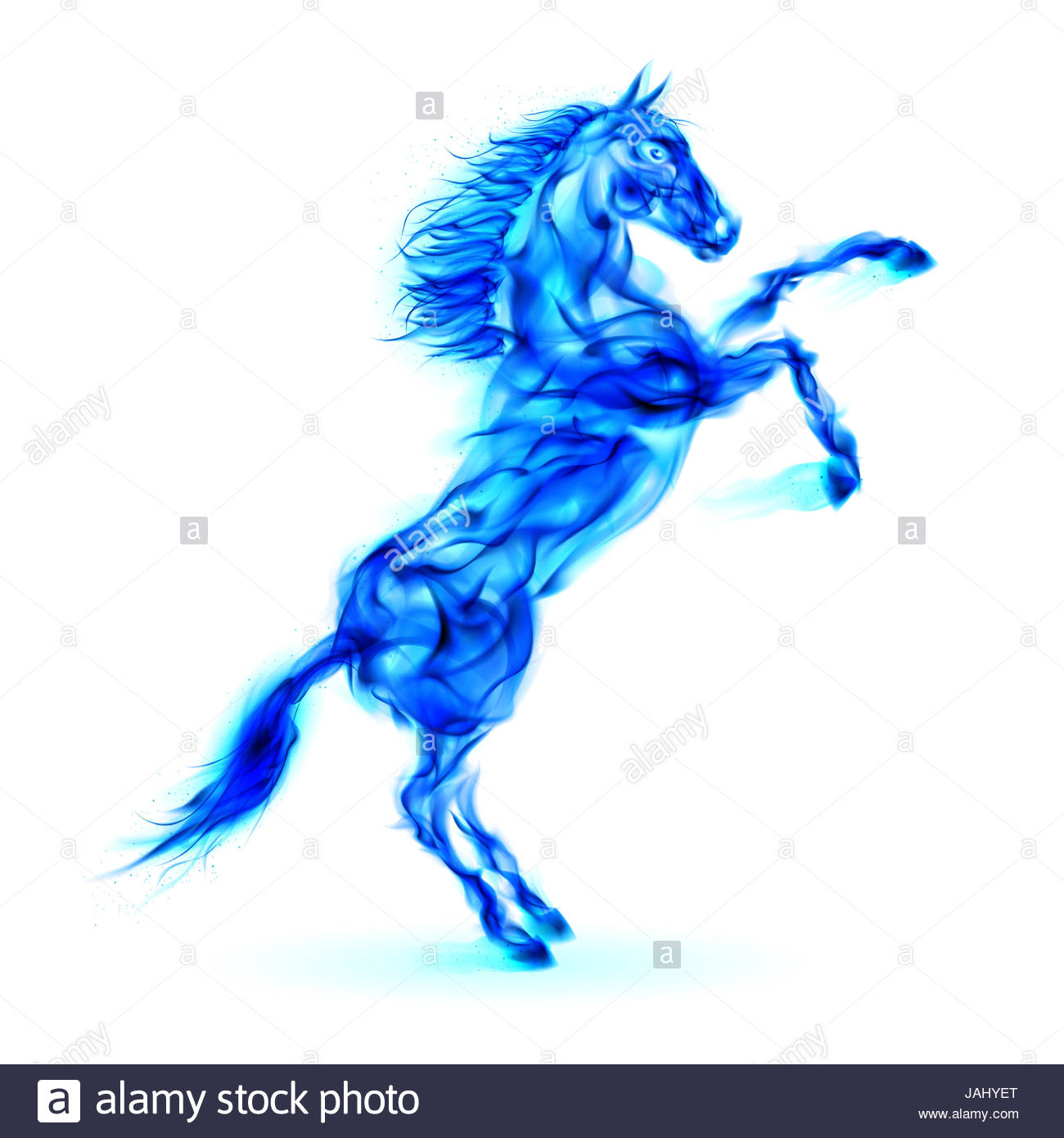 1300x1390 Blue Fire Horse Rearing Up. Illustration On White Background Stock