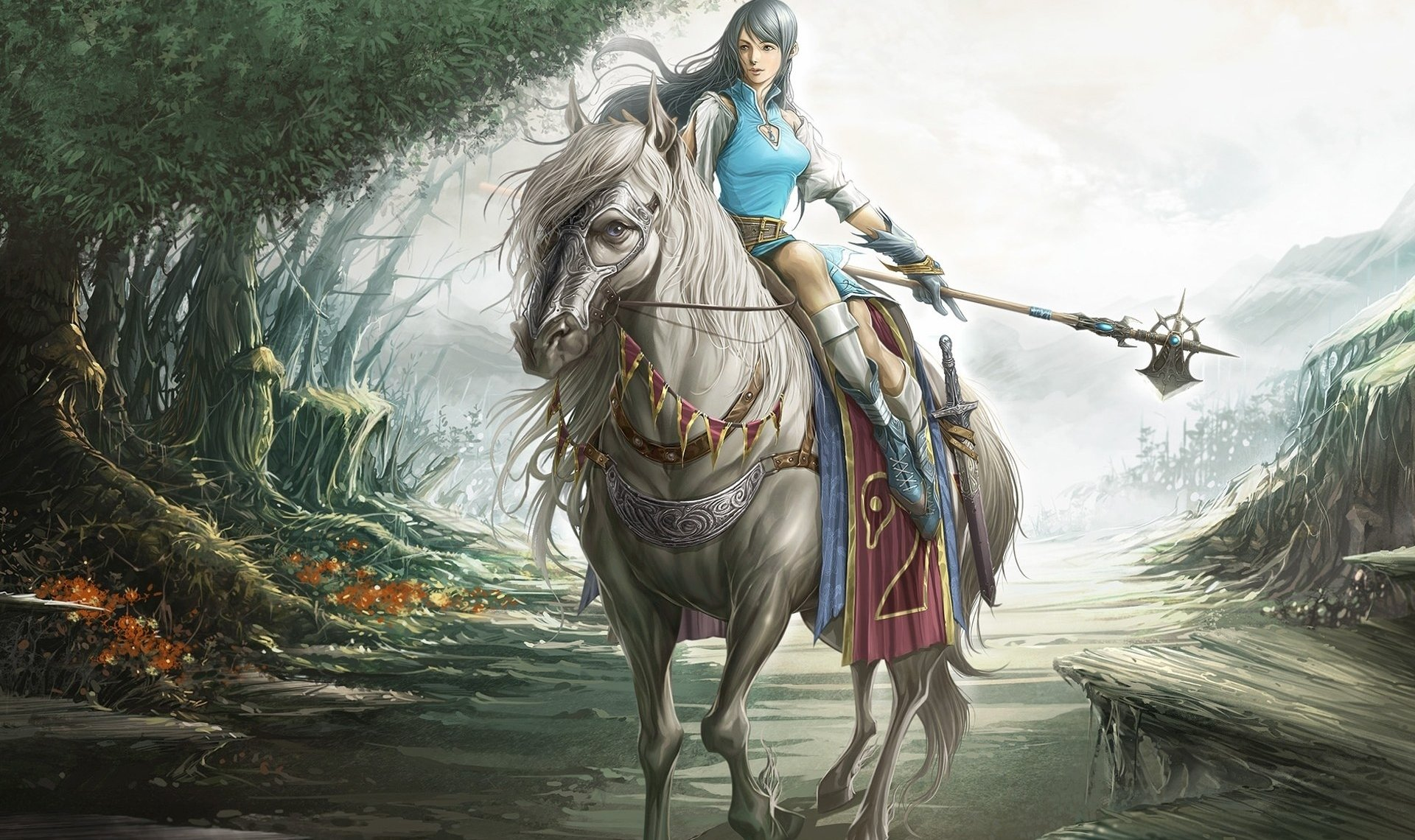 1920x1140 Horse Riding Drawing