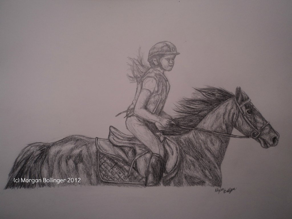 1024x768 Pencil Horse And Rider Drawing By Tukell
