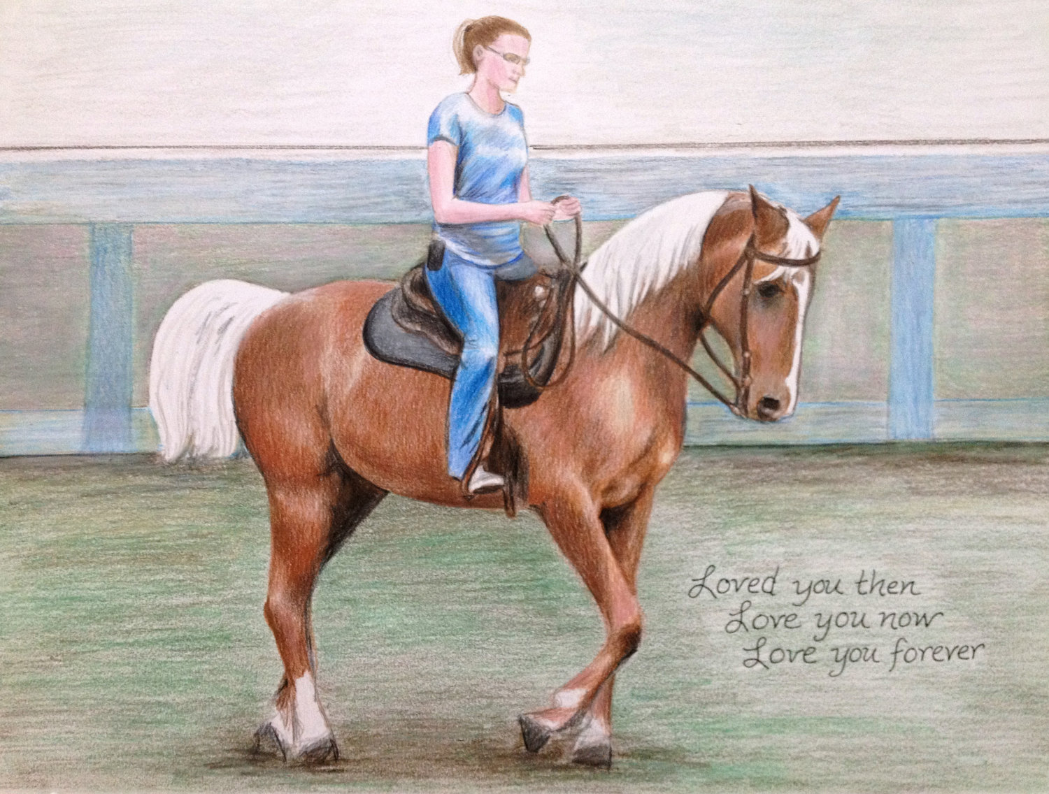 1500x1136 Drawing Horse Amp Rider Colored Pencil Portrait