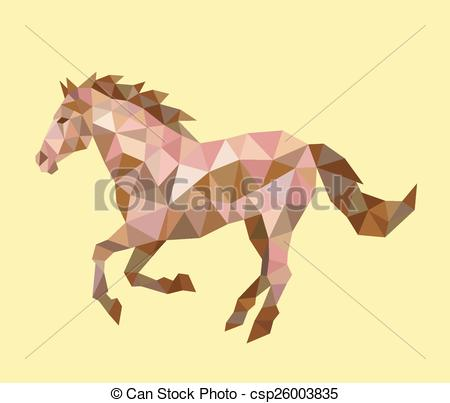 450x403 Horse Running Low Polygon. Running Horse Triangle Low Vectors