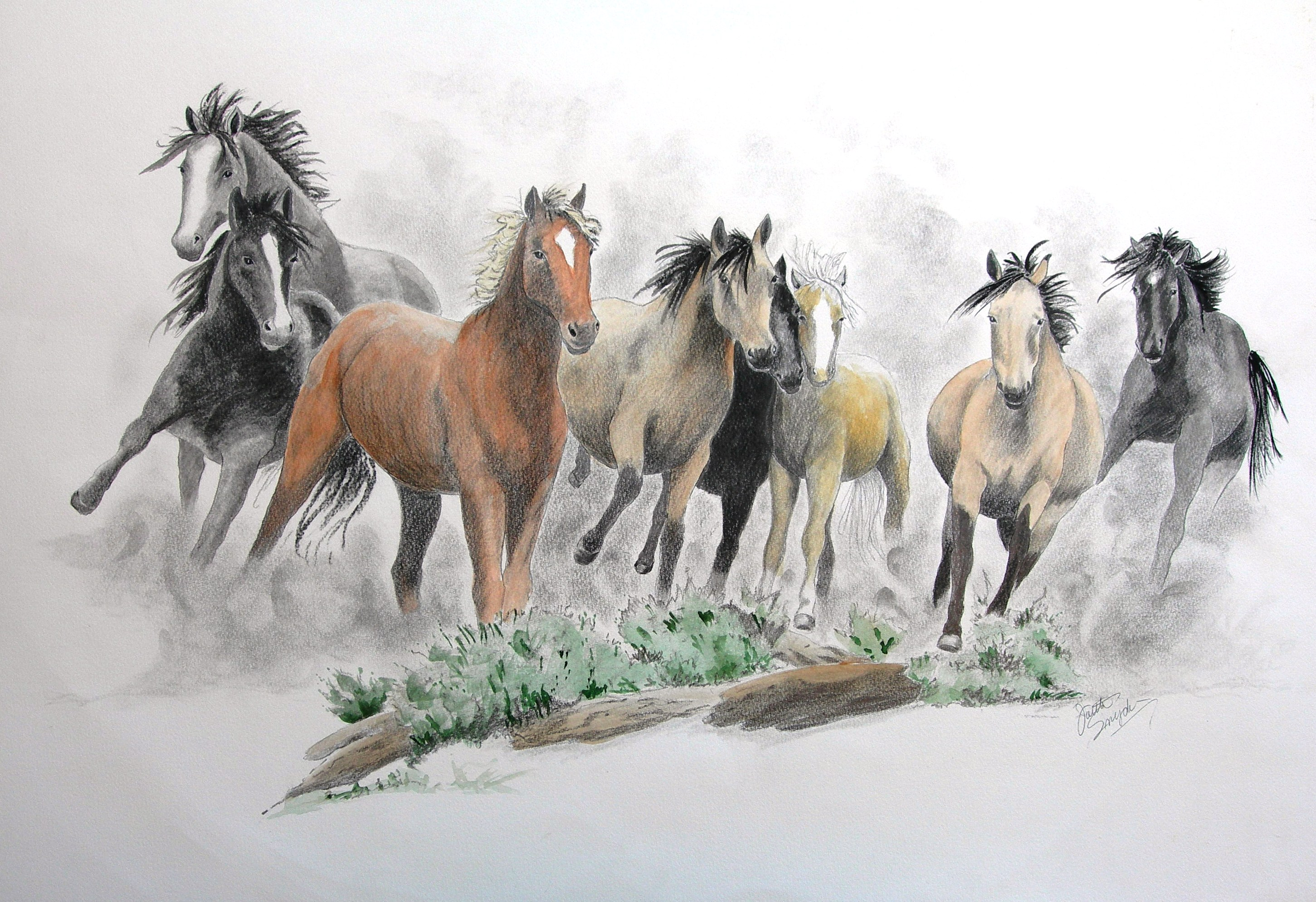 Horse Running Drawing at GetDrawings.com | Free for ...