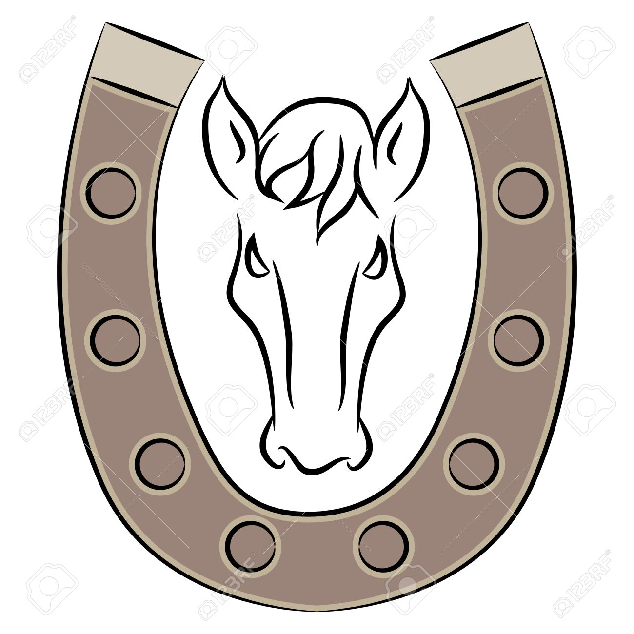 1300x1300 Horseshoe With Horse Drawing. Royalty Free Cliparts, Vectors,