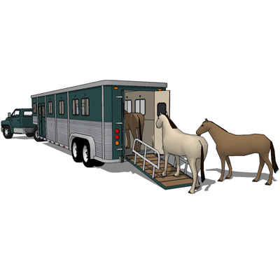 400x400 Horse Transport Trailer 3d Model