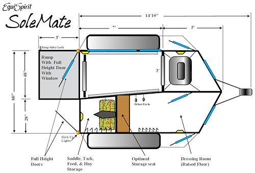 500x340 One Horse Trailer Floorplan