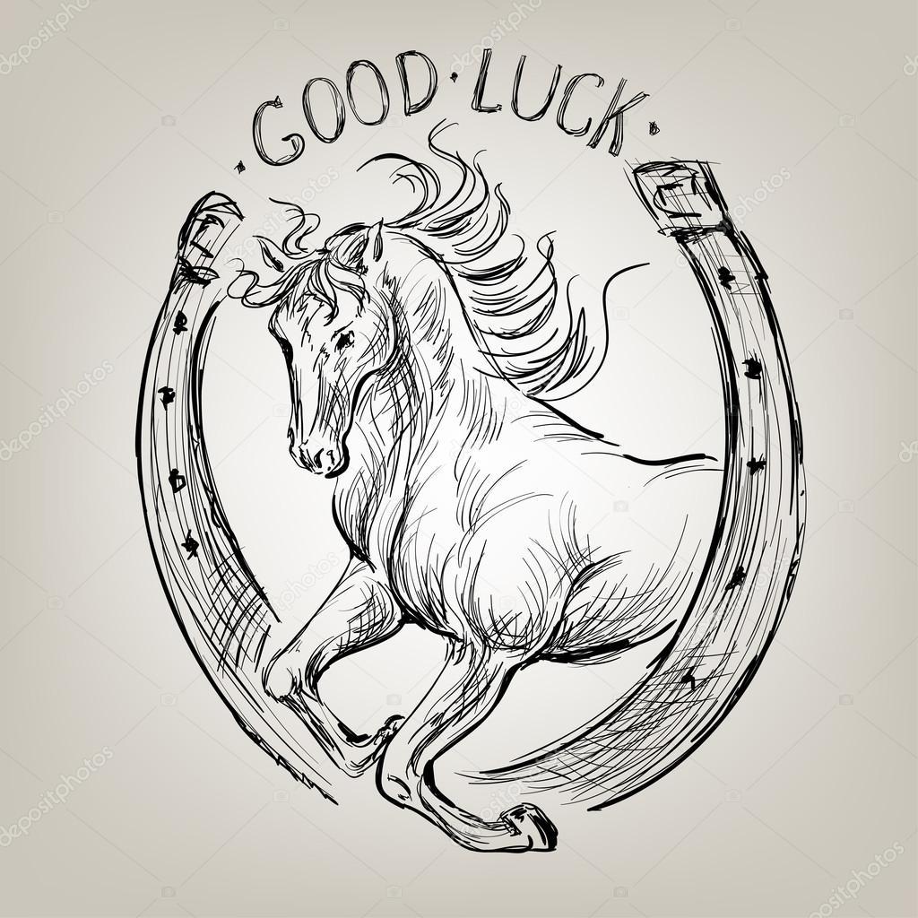 1024x1024 Horse In Horseshoe Like Symbol Fortune Stock Vector Yulianas