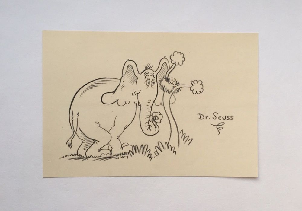1000x699 Drawing Dr Seuss, Horton Elephant, Author Cat In The Hat, Original