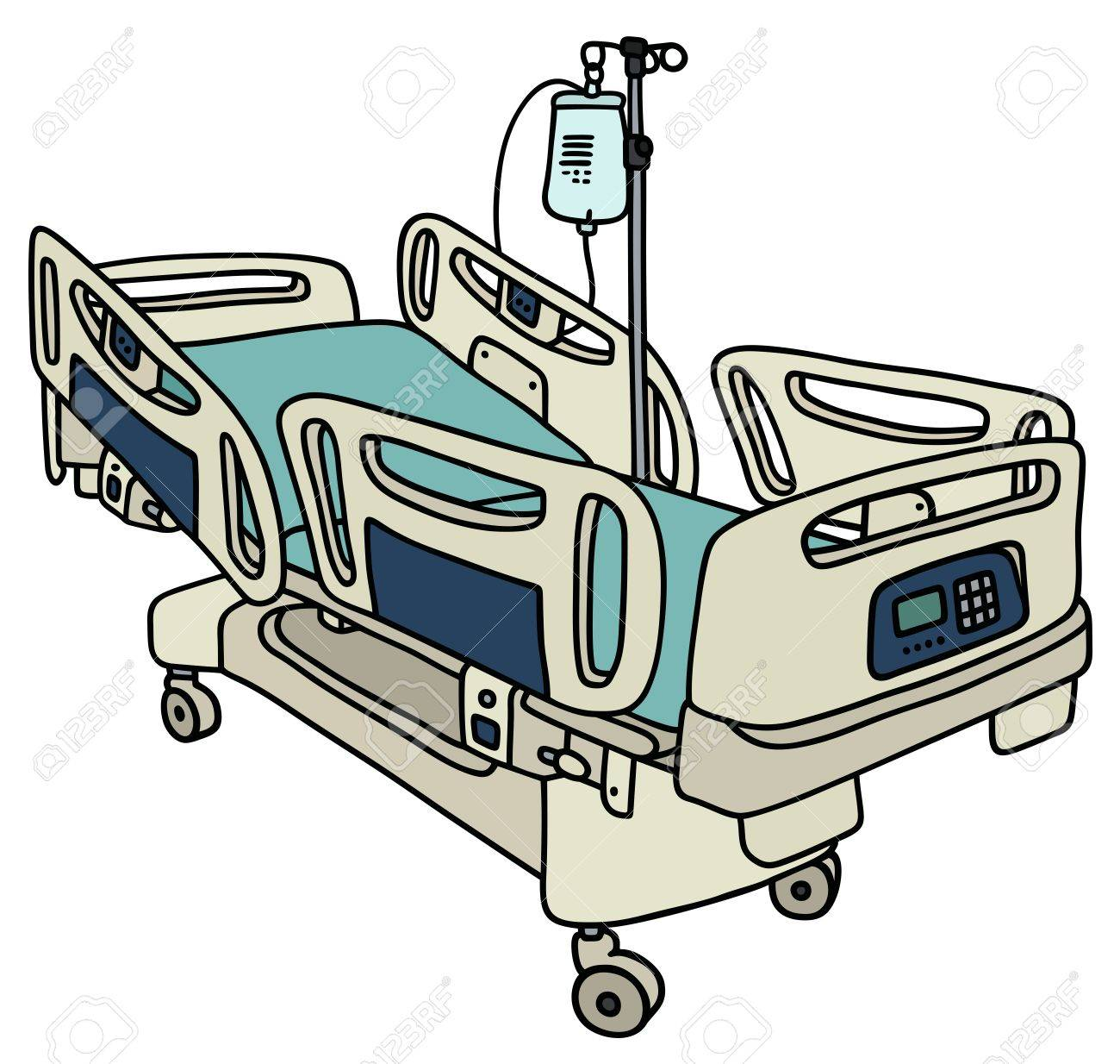 1300x1234 Hand Drawing Of A Hospital Position Bed Royalty Free Cliparts