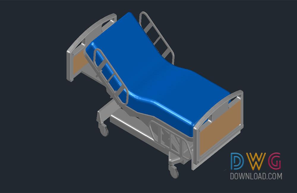 1000x650 Hospital Bed 3d Dwg Download Beds Cad Blocks, 3d Dwg Drawing
