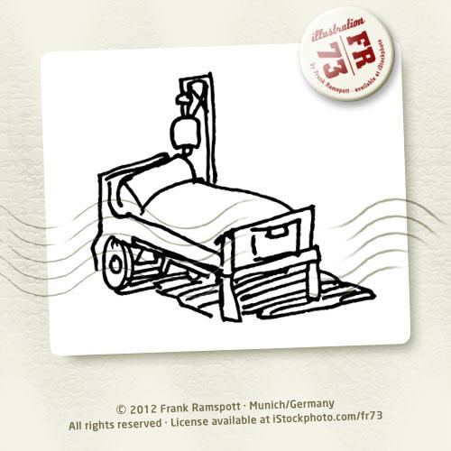 500x500 Hospital Bed Sketch Vector Illustration. 2012 Frank