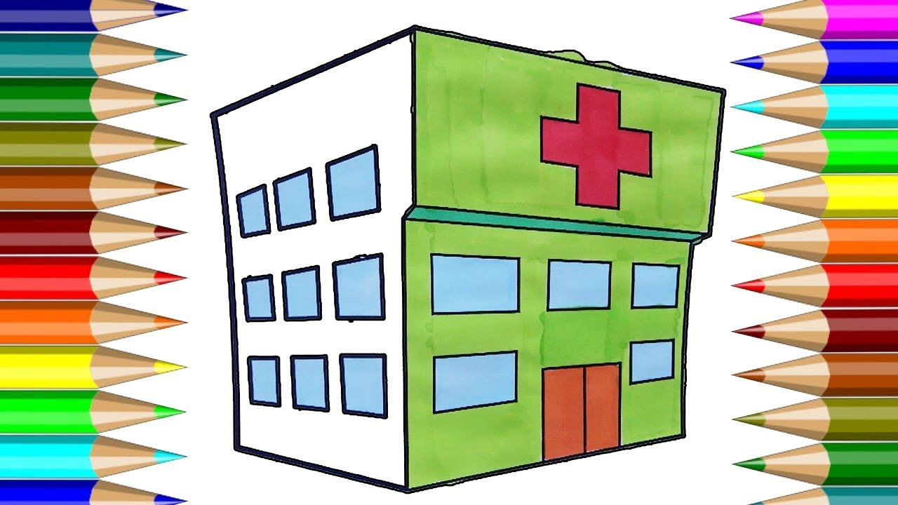 1280x720 Hospital Coloring Book How To Draw House,hospital Kids Drawing
