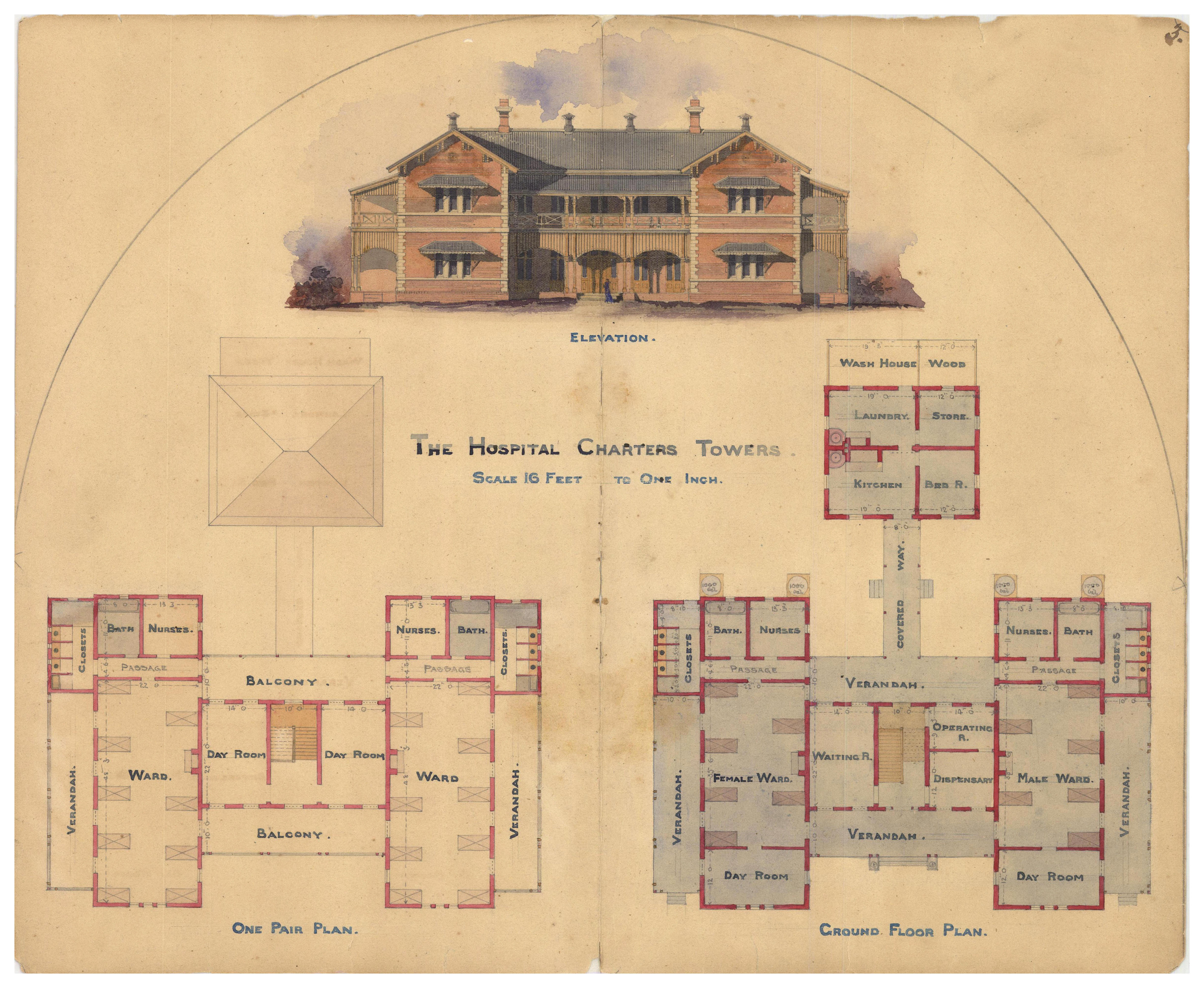 4900x4022 Filearchitectural Drawing Of The Hospital, Charters Towers, 1887